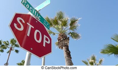 pacyfik, symbol, marszruta, usa., droga, lato, kalifornia, ...