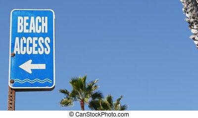 pacyfik, wybrzeże, ferie, symbol, usa., dłoń, signpost., ...