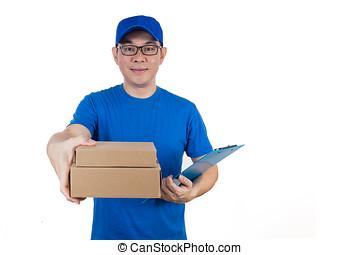 paczka, chińczyk, jednolity, doręczenie, asian, facet, dostarczając, mądry