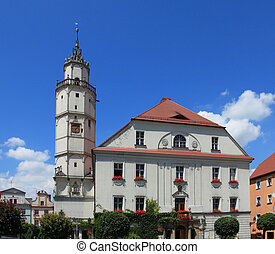 Paczkow, Poland. Town hall building with old renaissance tower.