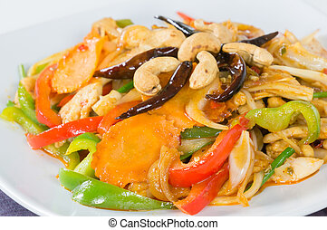 Pad cashew nut with chicken and sauteed - Pad cashew nut...