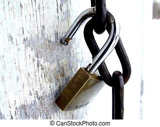 Pad Lock - Pad lock on chain on a old door, taken closeup