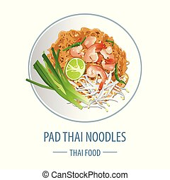 Pad Thai famous Thai food, realistic with top view style