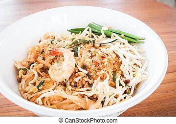 Pad thai , stir fry noodles with shrimp