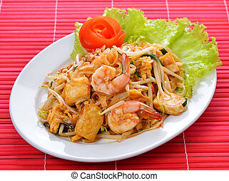 Pad Thai with shrimp, Thai noodle style