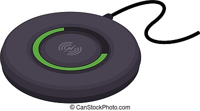 Pad wireless charger icon, isometric style
