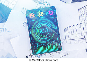 Pad with ICO chart - Top view of pad with ICO chart on ...
