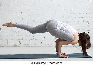 pada, galavasana, yoga, indoors:, eka