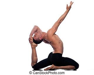 pada, pigeon, eka, rajakapotasana, homme, pose, yoga, roi
