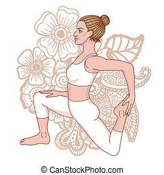 pada, rey, yoga, pose., one-legged, paloma, eka, silhouette., rajakapotasana, mujeres