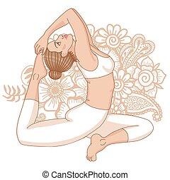 pada, rey, yoga, pose., rajakapotasana., paloma, eka, silhouette., one-legged, mujeres