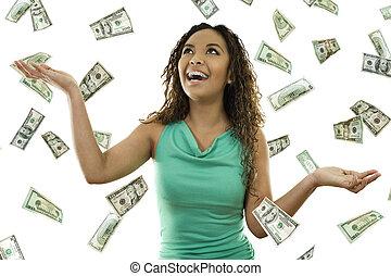 padając, jego, pieniądze