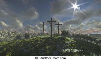 padając, krzyż, timelapse zasępia, jezus