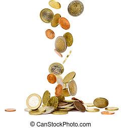 padające pieniądze, euro