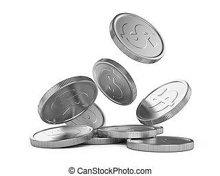 padające pieniądze, srebro