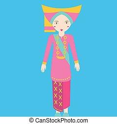 padang, indonesia, niñas, asia, tradicional, sumatra, ...