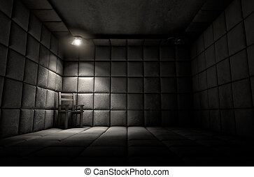 Padded Cell And Empty Chair - A dark dirty white padded cell...