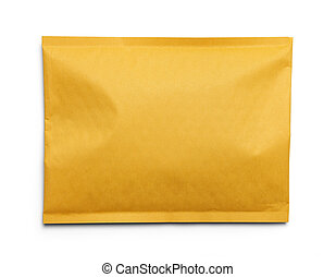 Padded Envelope - Yellow Blank Envelope Isolated on White...