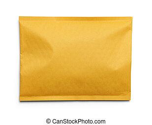 Yellow Blank Envelope Isolated on White Background.