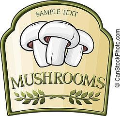 paddenstoel, etiket, ontwerp