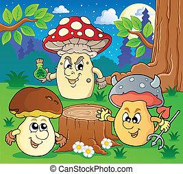 paddenstoel, thema, beeld, 6