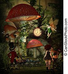 paddenstoel, tijd, 3d, cg