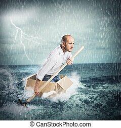 paddla, in, den, oväder