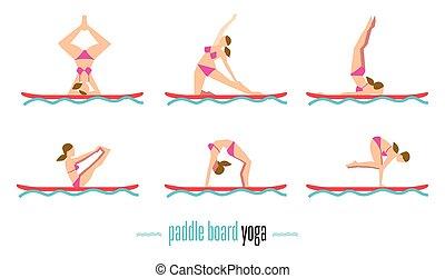 Paddle board yoga set, vector illustration