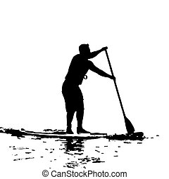 Paddle Boarder in Swansea Bay Vector Silhouette