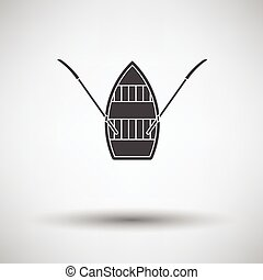 Paddle Boat Icon On Gray Background Round Shadow Vector