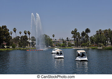Paddle boats in a lake