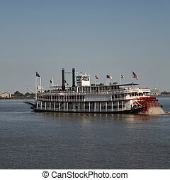 paddle steamer on Mississippi River New Orleans