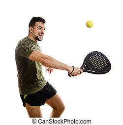 Paddle tennis hit on white background