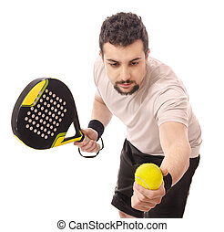 Paddle tennis serve.