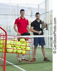 Paddle tennis team - Paddle tennis training basket with...