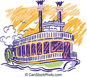 Paddle Wheel Boat - Sketched, Vector, steam boat colorful