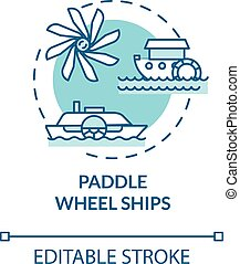 Paddle wheel ship turquoise concept icon. Vintage steamship. Retro river boat. Water vessel. Steamboat idea thin line illustration. Vector isolated outline RGB color drawing. Editable stroke