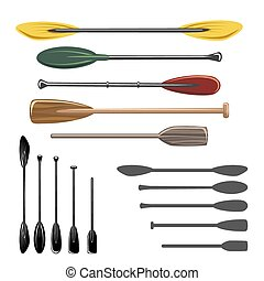 Paddles and oars vector icons set. Sport rowing, travel...