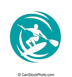 Paddling - Man on the paddleboard, surfing in the waves,...