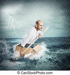 Paddling in the storm - Businessman surfs on a cardboard ...