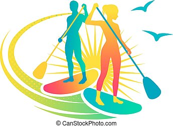 Man and woman standing on the paddleboards