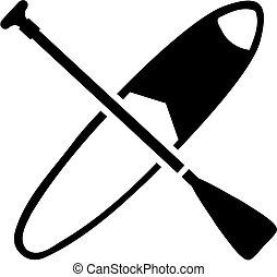 paddling, stander, op, peddel, plank