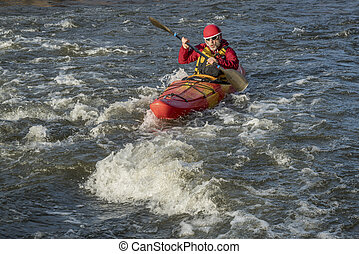 paddling whitewater kayak - whitewater kayaker paddling...