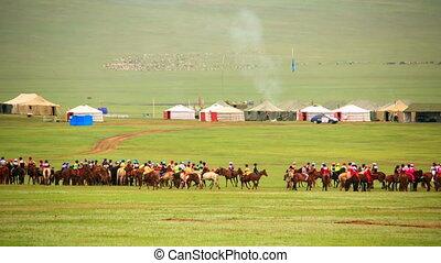 Paddock during Naadam Festival, Mongolia