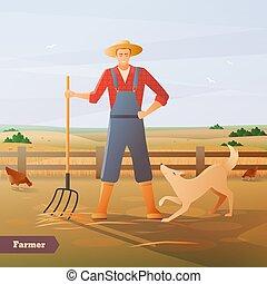 paddock, farmer, samenstelling, plat