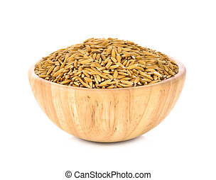 Paddy in a wooden bowl isolated on white background