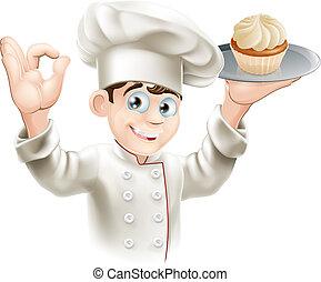 padeiro, com, cupcake