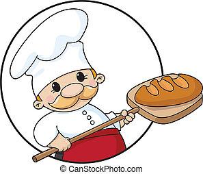 padeiro, com, pão, círculo