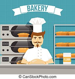 padeiro, desenho, cozinheiros, pão