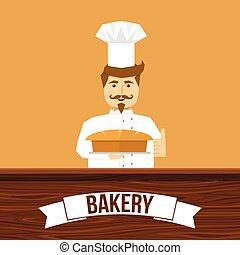padeiro, desenho, pão